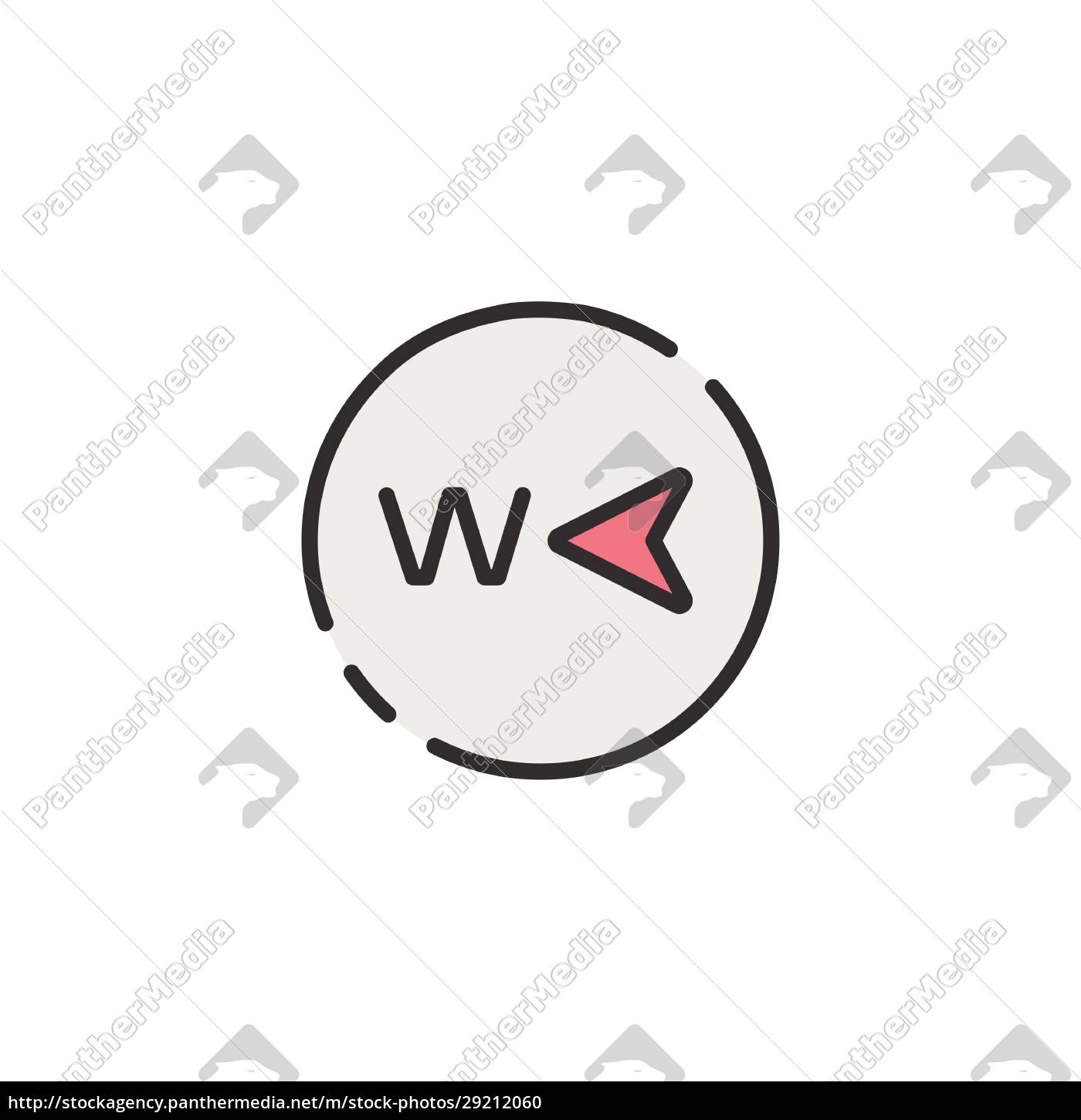 west, direction., filled, color, icon., weather - 29212060