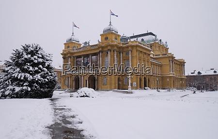 croatian national theater in zagreb winter