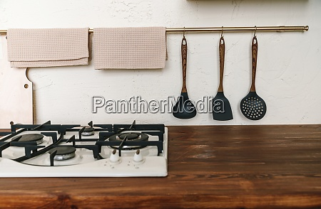 kitchen wooden countertop with hob and