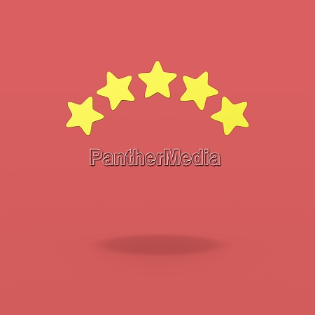 five stars on red background