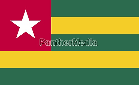 togo national flag in exact proportions