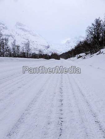 road in wintertime kvaloya norway