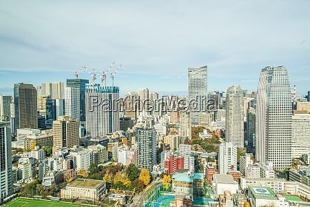 tokyo skyline seen from the tokyo