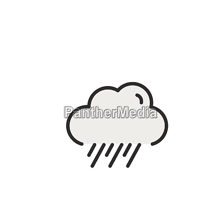 rain and cloud filled color icon