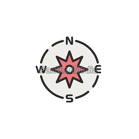 compass., filled, color, icon., weather, vector - 29224391