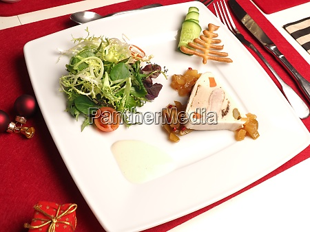 delicious terrine with poultry liver on