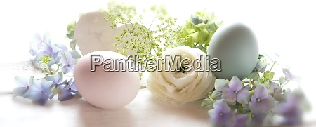 pastel colored easter still life