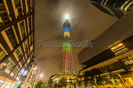 tokyo sky tree of olympic color