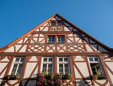 the gable of a half timbered