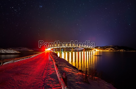 night view of bridge to sommaroy