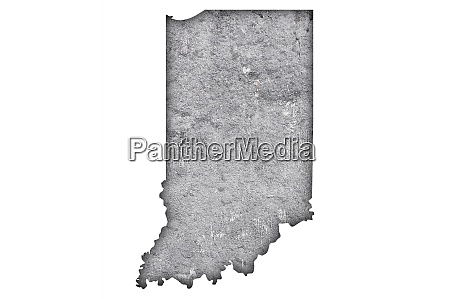 map of indiana on weathered concrete