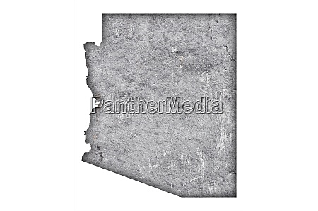 map of arizona on weathered concrete