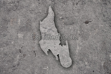 map of zanzibar on weathered concrete