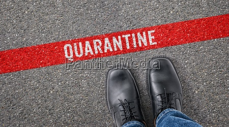 red line on asphalt quarantine