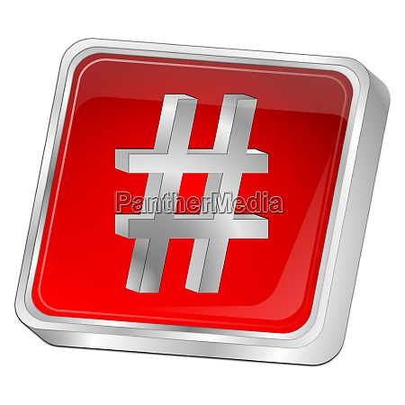 hashtag button red 3d illustration