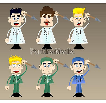 funny cartoon doctor holding spear in