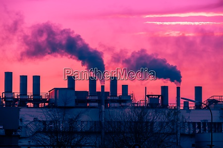 air pollution with smoke from factory