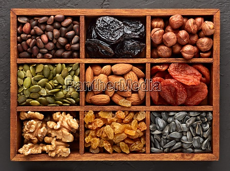 different kinds of nuts dried fruits