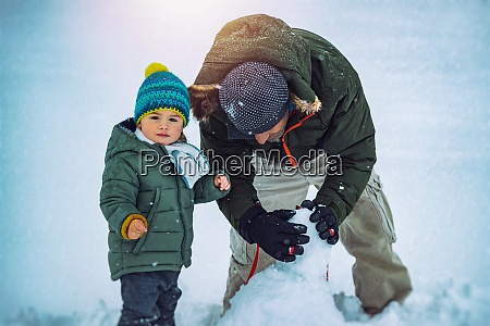 happy father with son outdoors