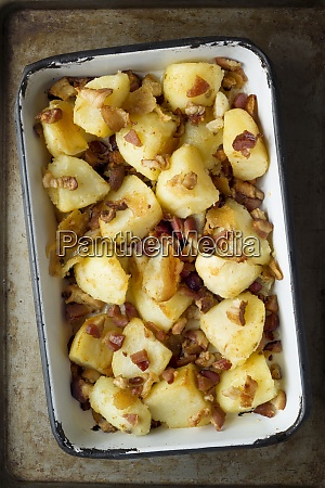 rustic baked potatoes and bacon