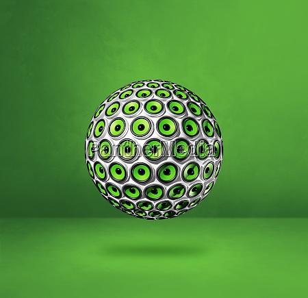 speakers sphere on a green studio