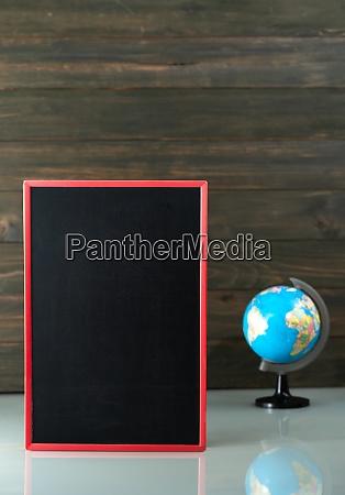 chalkboard mock up frame and globe