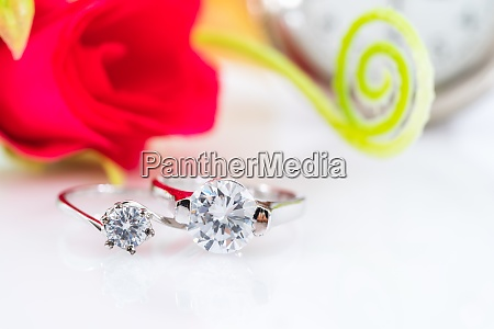diamond wedding rings on white