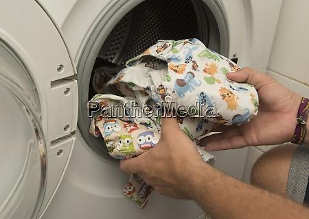 diaper in the washing machine