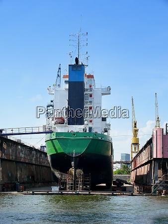 ocean ship in a dry dock