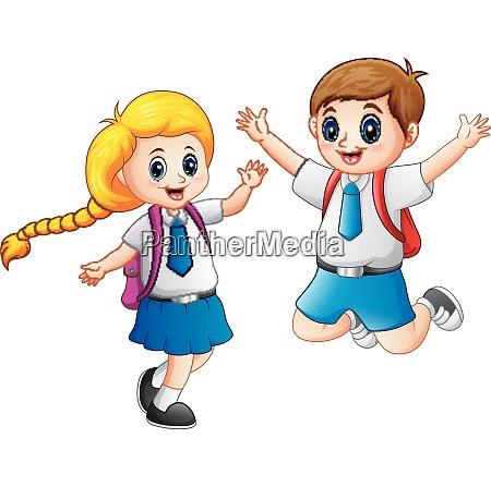 happy school kids in a school