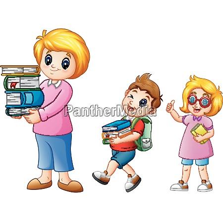 cartoon female with school boy