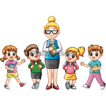 a female teacher with students