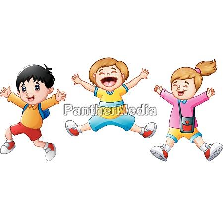 happy school kids cartoon jumping
