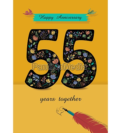 floral number 55 anniversary card inkpen