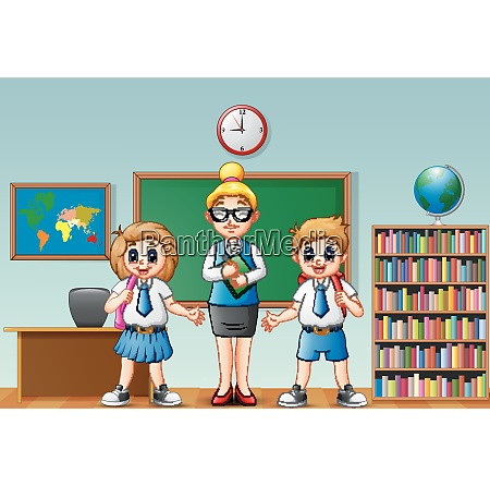 cartoon female teacher and students in