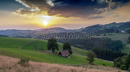 schwarzwald landscape with dramatic sky in