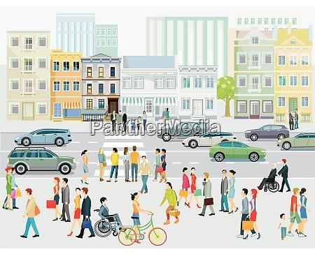 street with pedestrians and crosswalks illustration