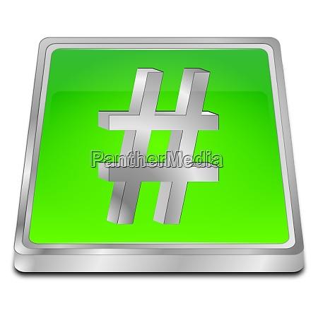 hashtag button green 3d illustration