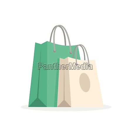 two shopping bags green and beige