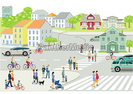 cityscape with people and road traffic