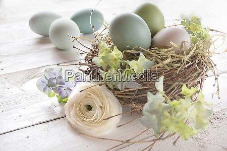 tender pastel colored easter still life