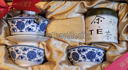 ceramic tea set in a shop