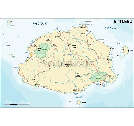 vector road map of viti levu
