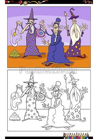 cartoon wizards fantasy characters coloring book