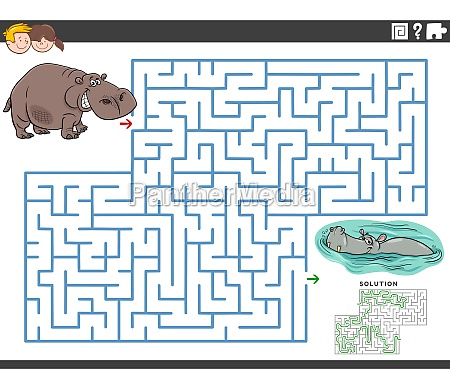 maze educational game with funny hippos