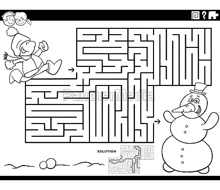 maze game with boy and snowman