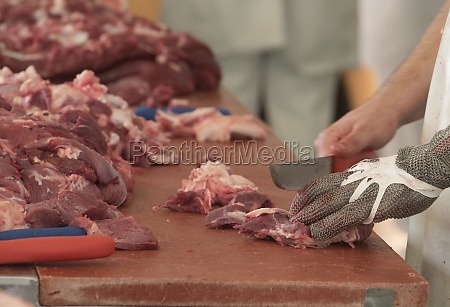 butcher and trade with meat