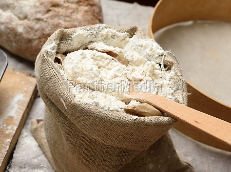 white wheat flour in a small