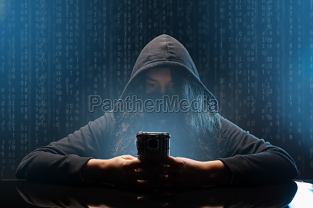 hacker with cellphone