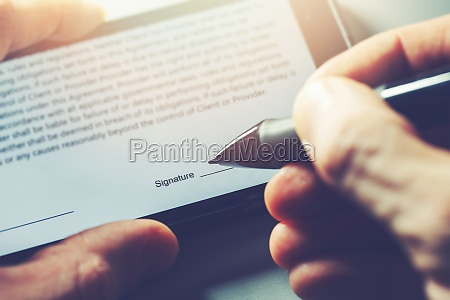 electronic signature concept man sign